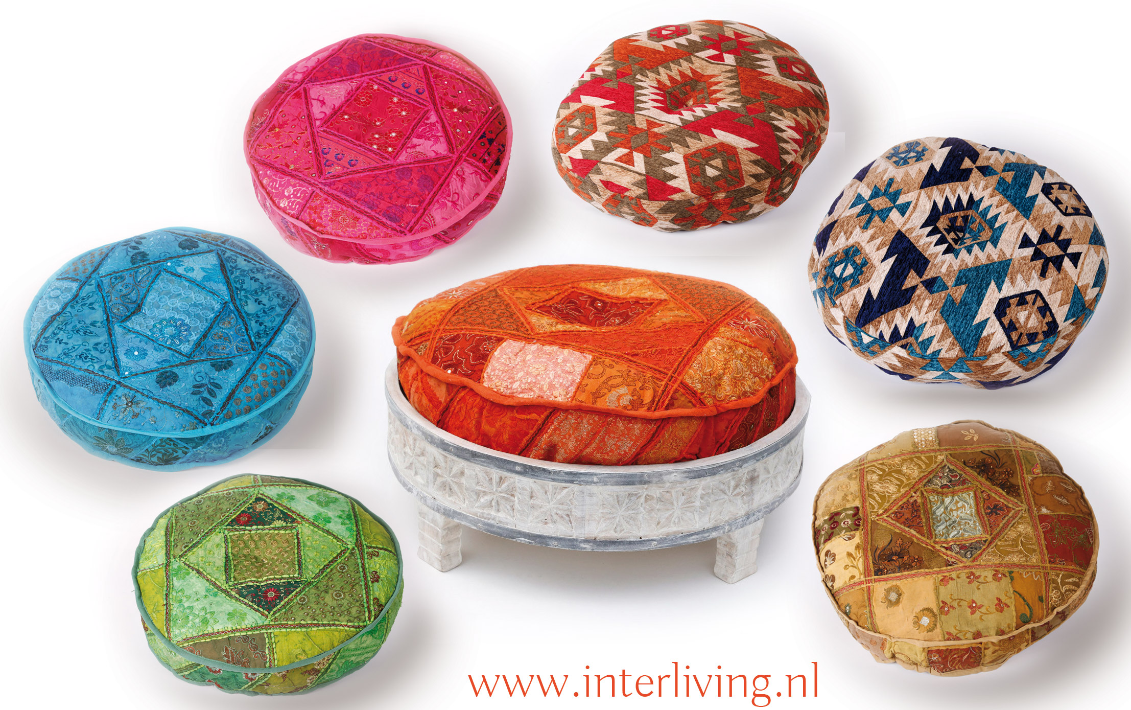 Hedendaags Indiase ronde matraskussens, meditatiekussens, voor op de chakki tafel WX-11