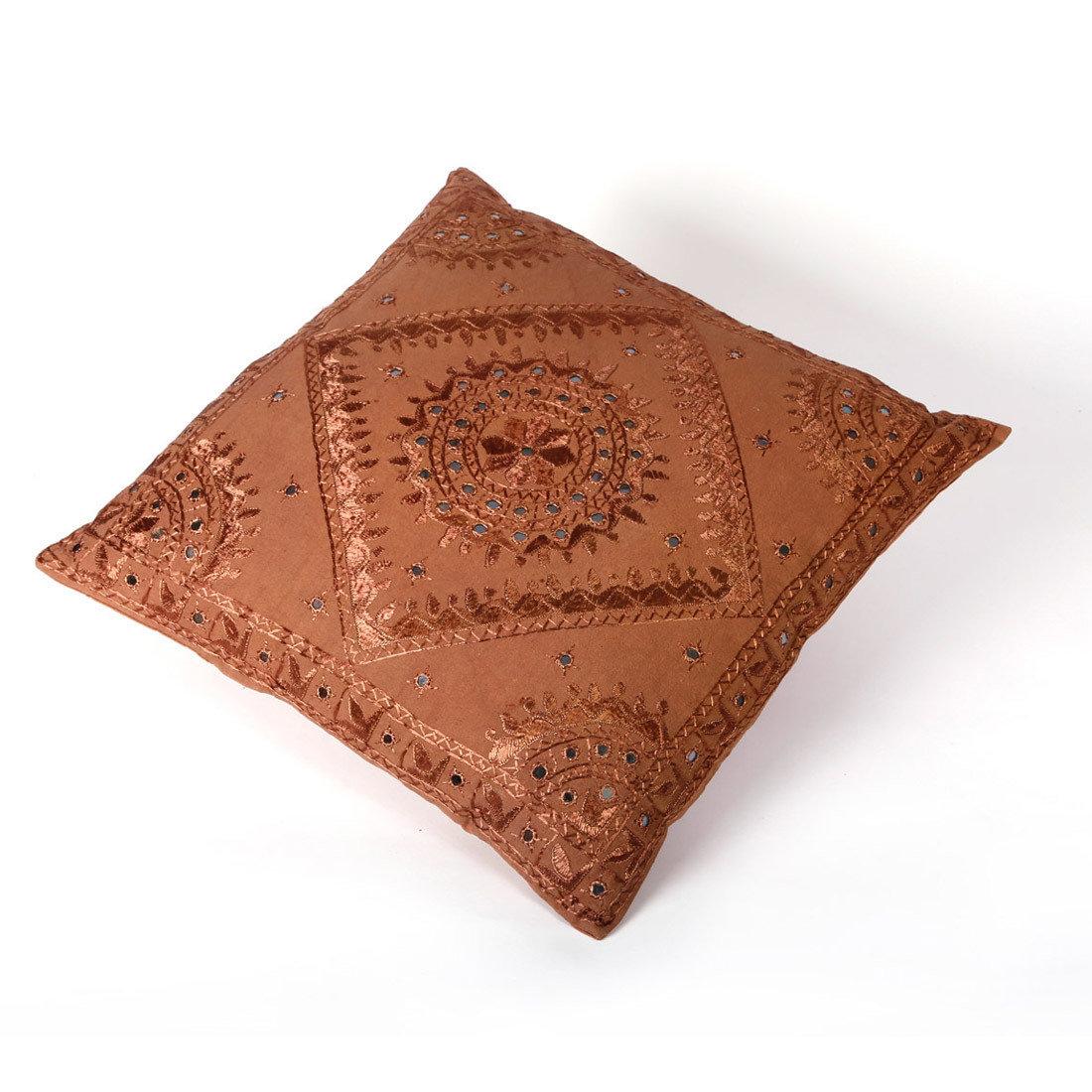 indiaas kussen - chocolade bruin - met spiegeltjes