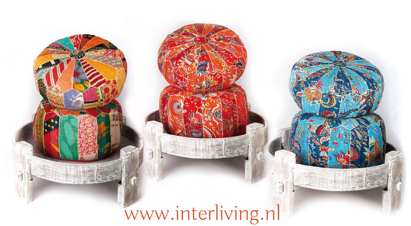 ottoman poef rond marokkaans design met quadrille patchwork print. Black Bedroom Furniture Sets. Home Design Ideas