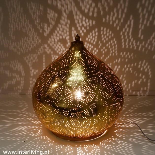 Filigrain tafellamp in goud look vintage stijl oosters for Mooie tafellampen