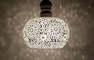 Unieke open mozaiek hanglamp met massief hout
