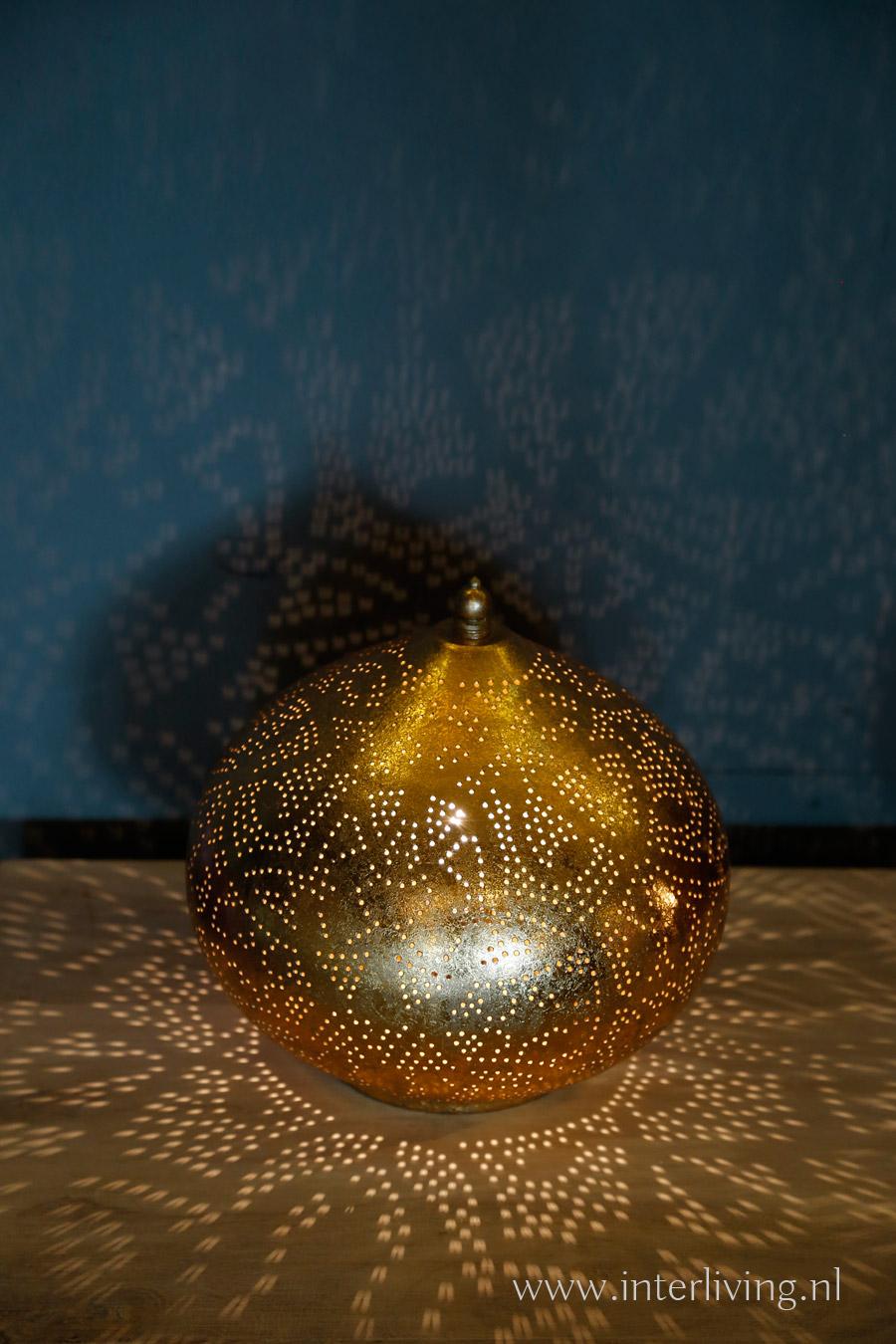 gouden lamp - combineren met blauw