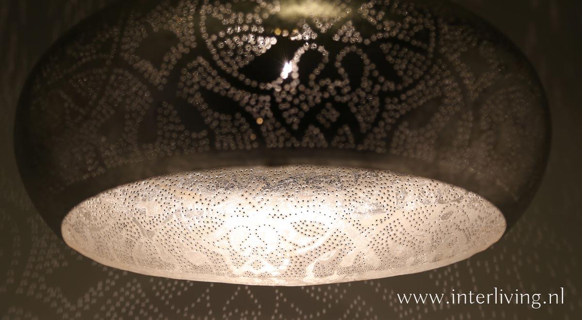 grote open hanglamp zilver
