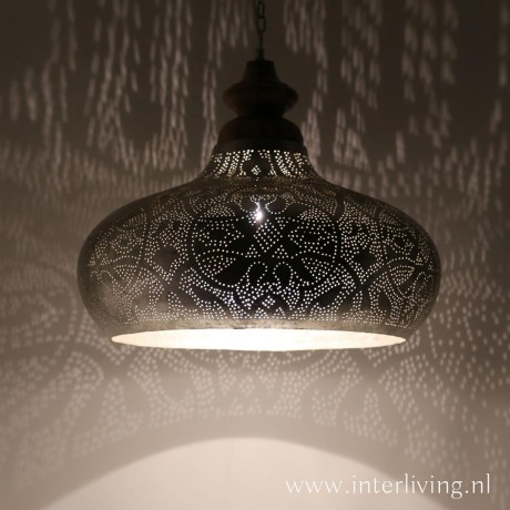 zilver industrieel grote hanglamp
