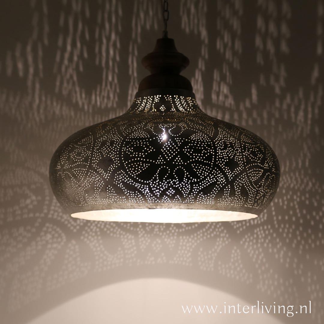 Geliefde Grote hanglamp voor boven de eettafel - vintage zilver met hout WY59