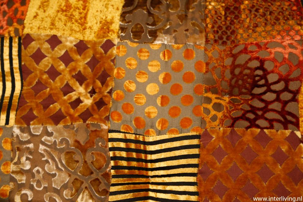 koper - goud - bruin - fluweel patchwork uit India - handgemaakt beddensprei
