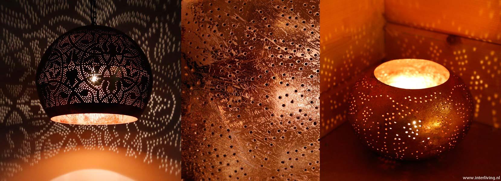 grote bol hanglamp van vintage koper metaal als sfeerlamp voor boven je (eet)tafel compleet met metalen ophangsnoer van stoere schakels en een dopplaatje voor aan het plafond