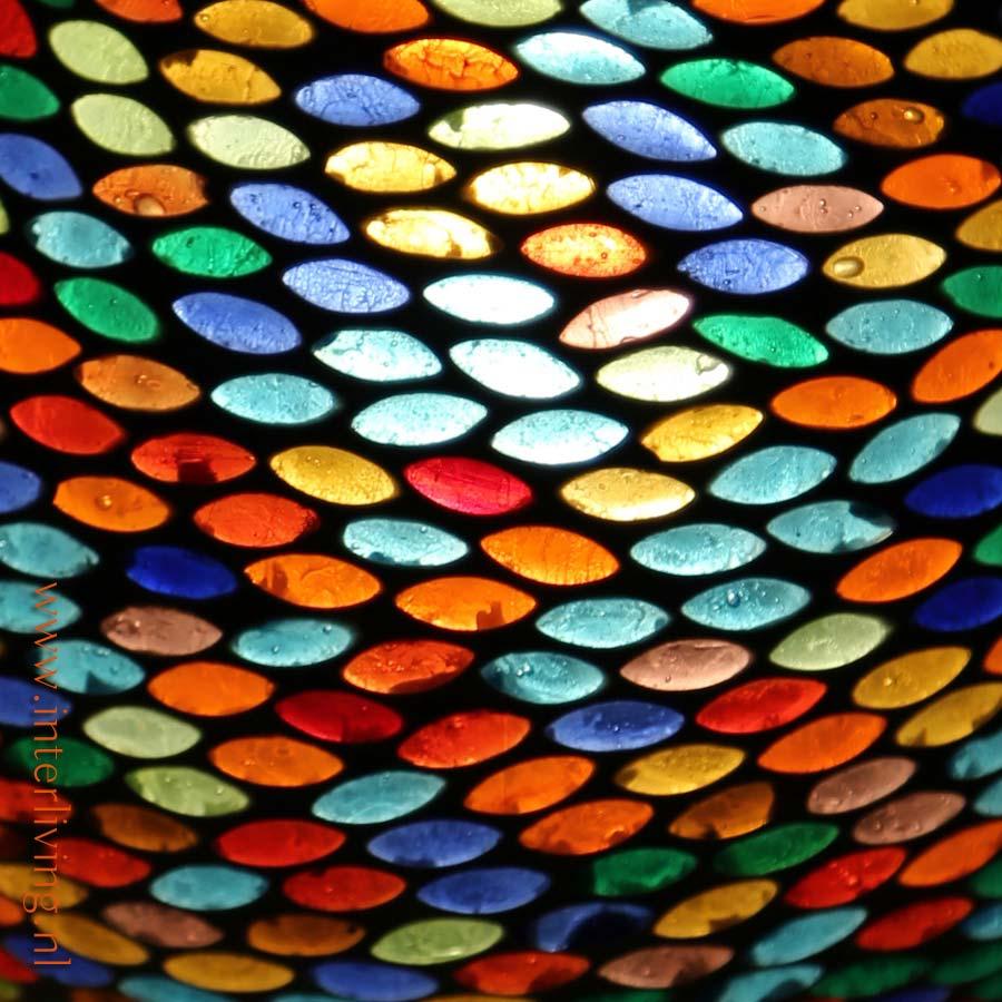 oosterse bollamp voor op tafel met gekleurde ovale oogjes mozaiek. Black Bedroom Furniture Sets. Home Design Ideas