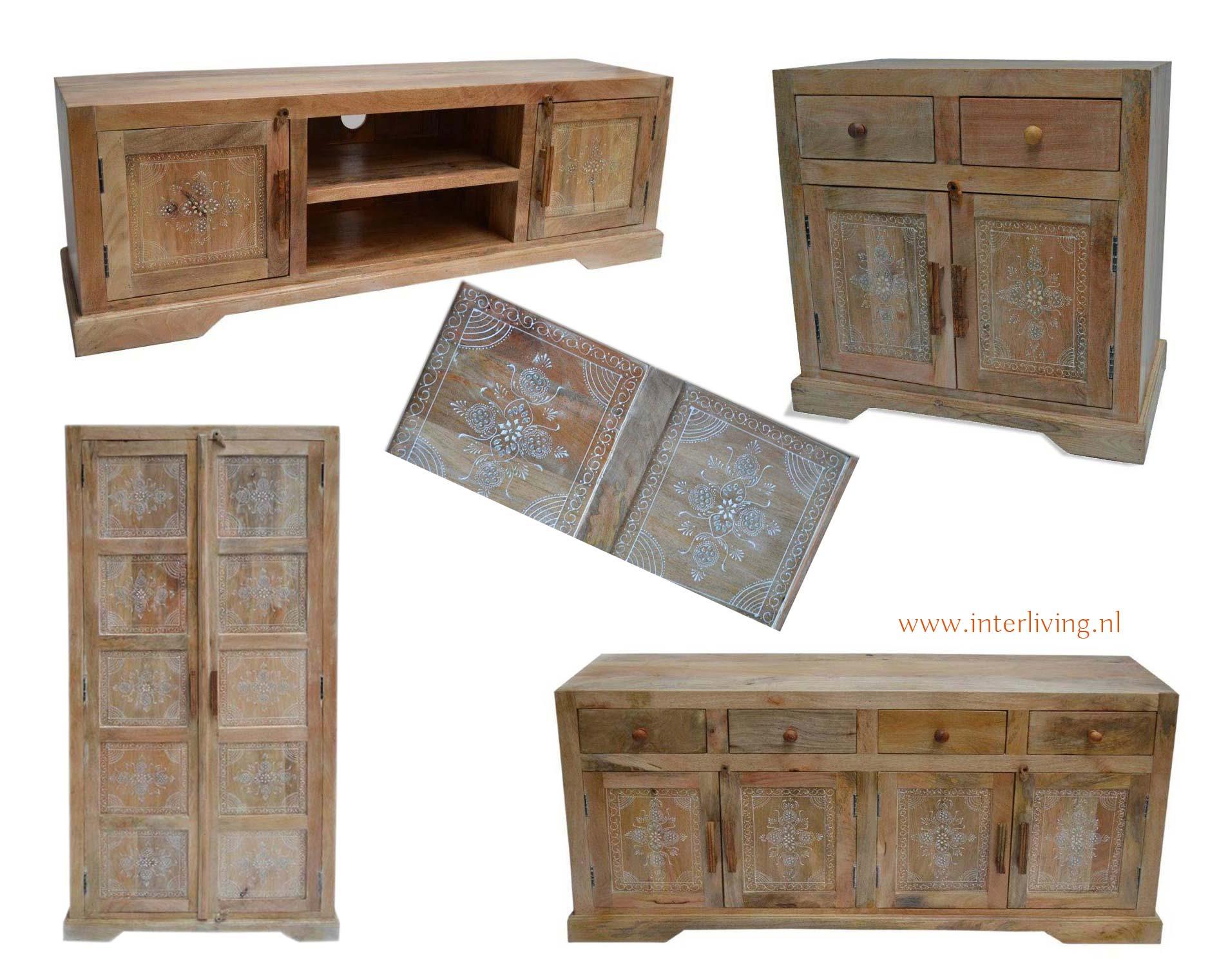 Stoere Naturel Mango Houten Kasten Collectie Met Decoratieve