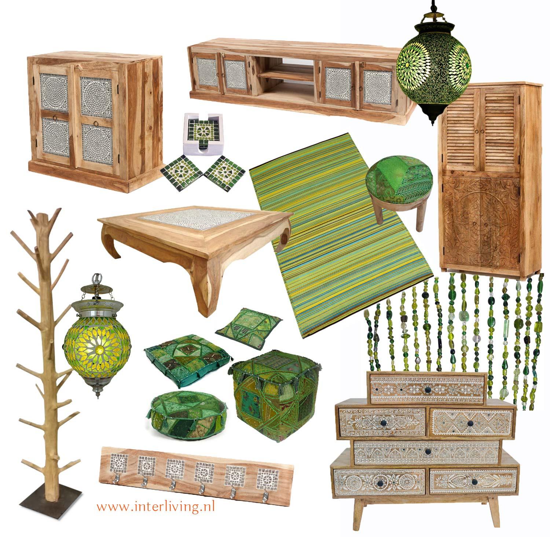 stoere blanke naturel houten meubelen - botanische woontrend