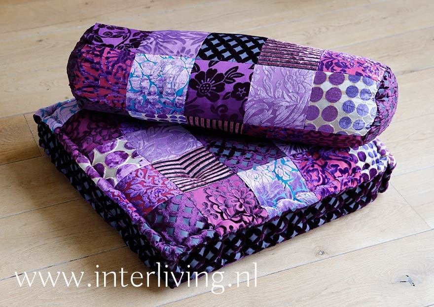 paars tinten - fluweel patchwork uit India - handgemaakt beddensprei
