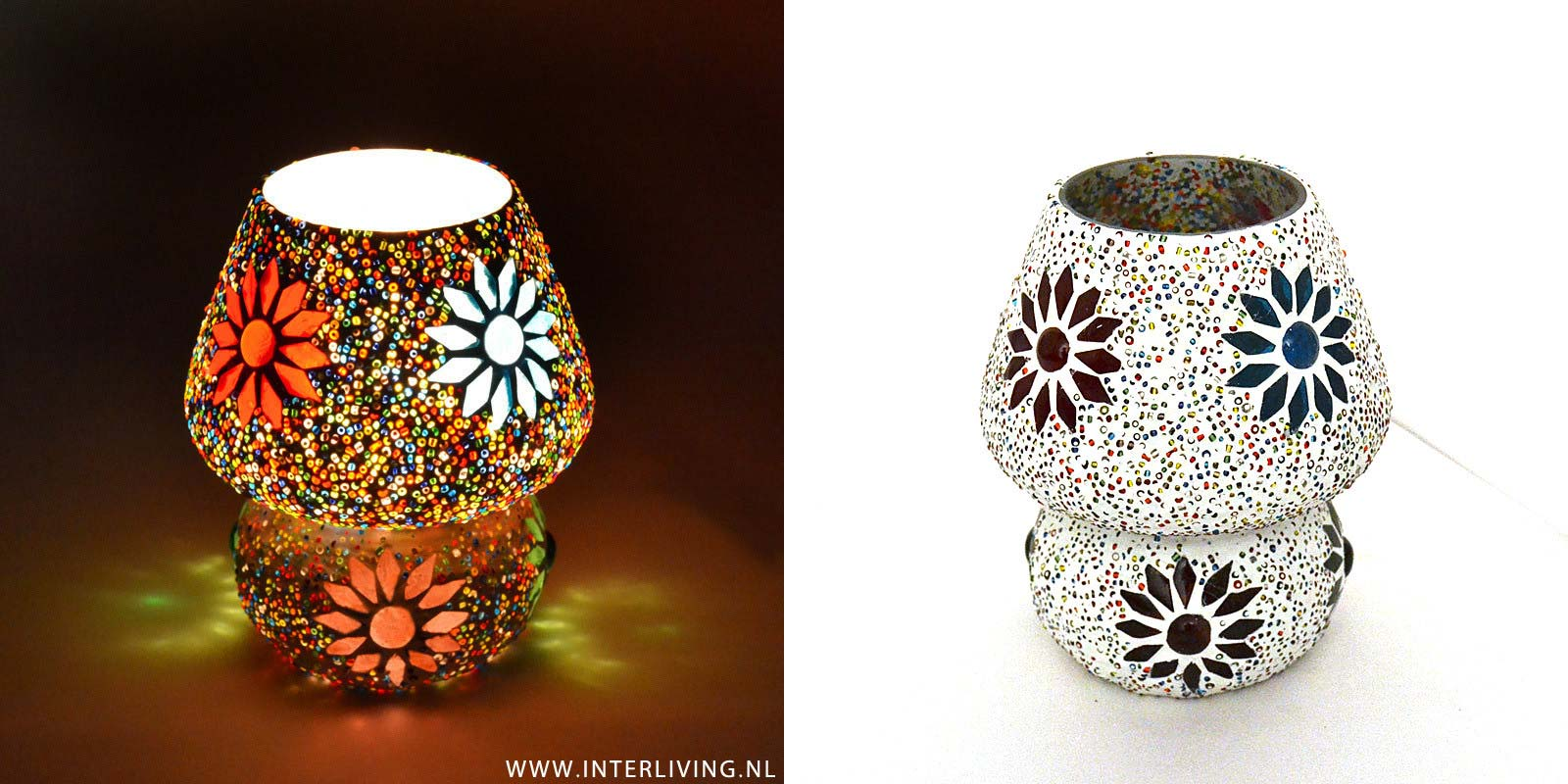 sfeer nachtlampje mozaiek aan of uit