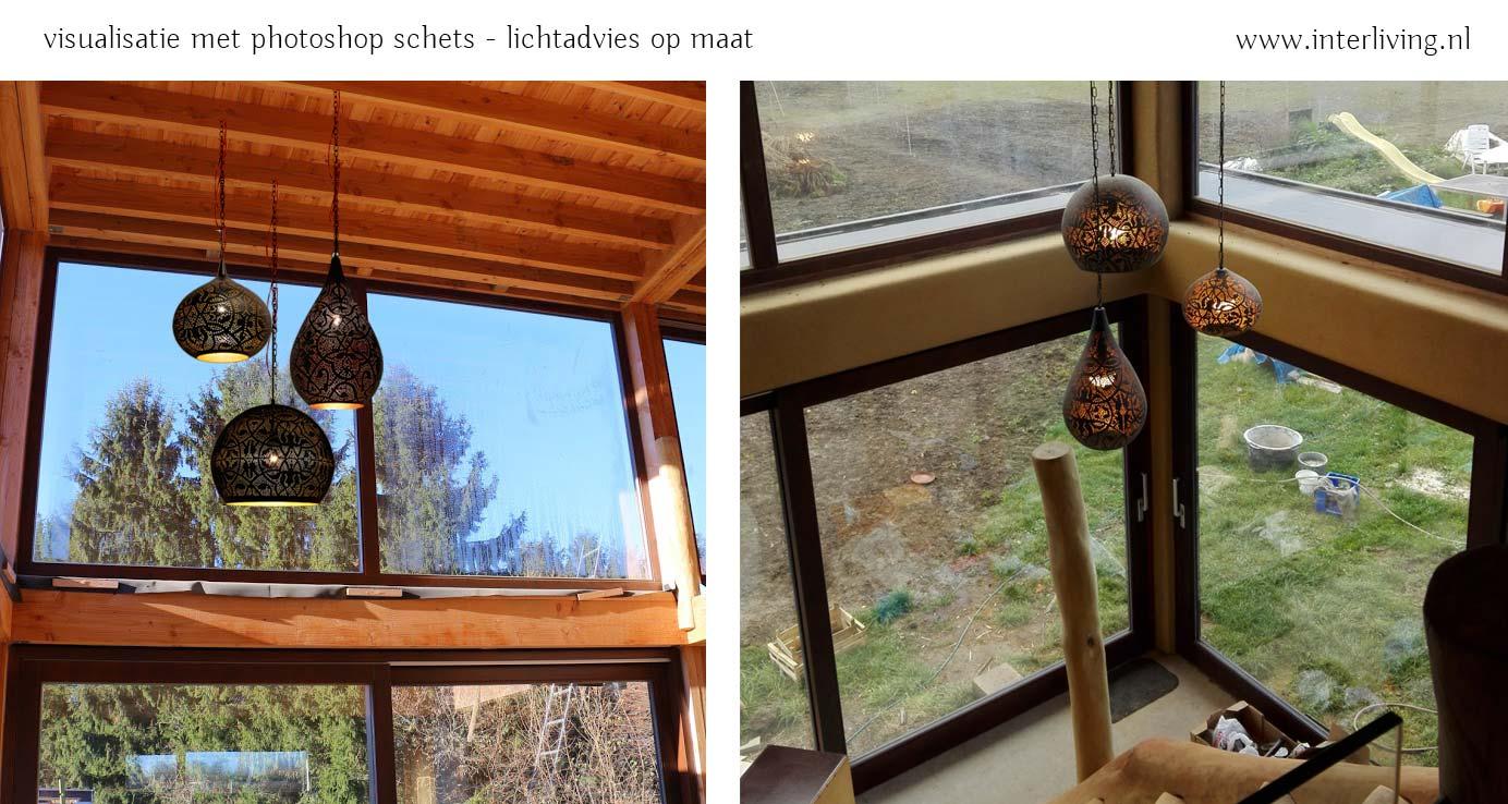 filigrain hanglampen aan hoog plafond - trosje