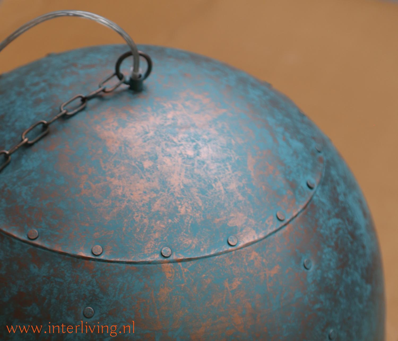 grote open blauwe vintage hanglamp voor horeca project