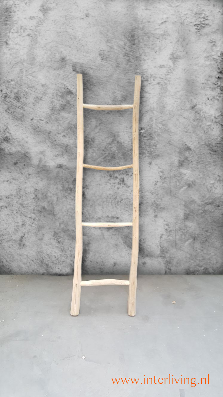 Extreem decoratieve naturel houten ladder van acacia hout voor je interieur #FS64