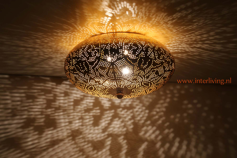 Oosterse plafondverlichting filigrain lampen koper goud for Plafondverlichting