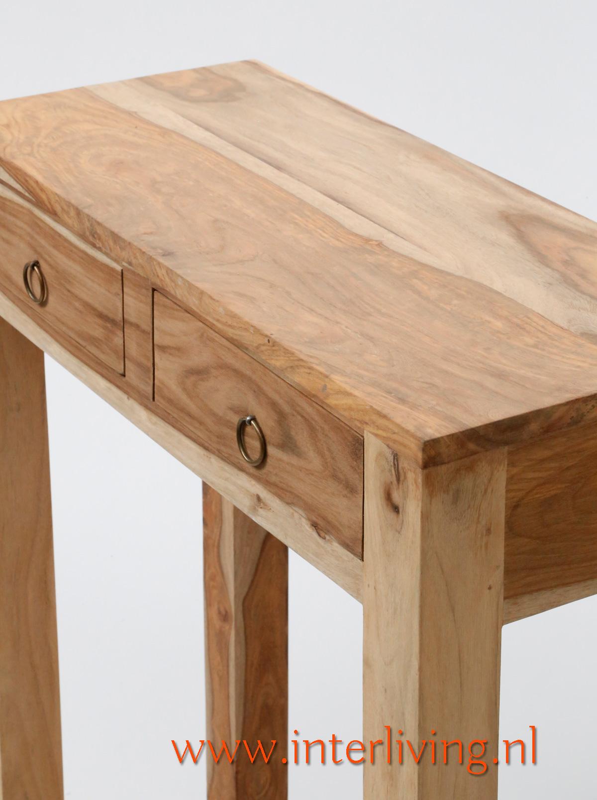 console massief sheesham hout met twee lades naturel