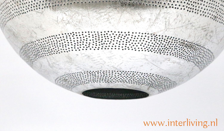 Ibiza grote vintage zilver look gaatjes lamp