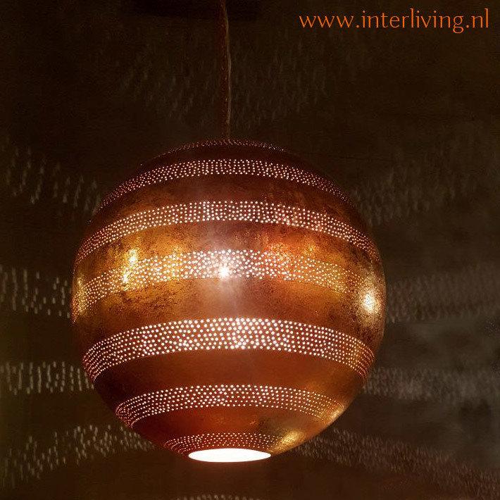 Koper kleur Boho lamp met gaatjes XXL
