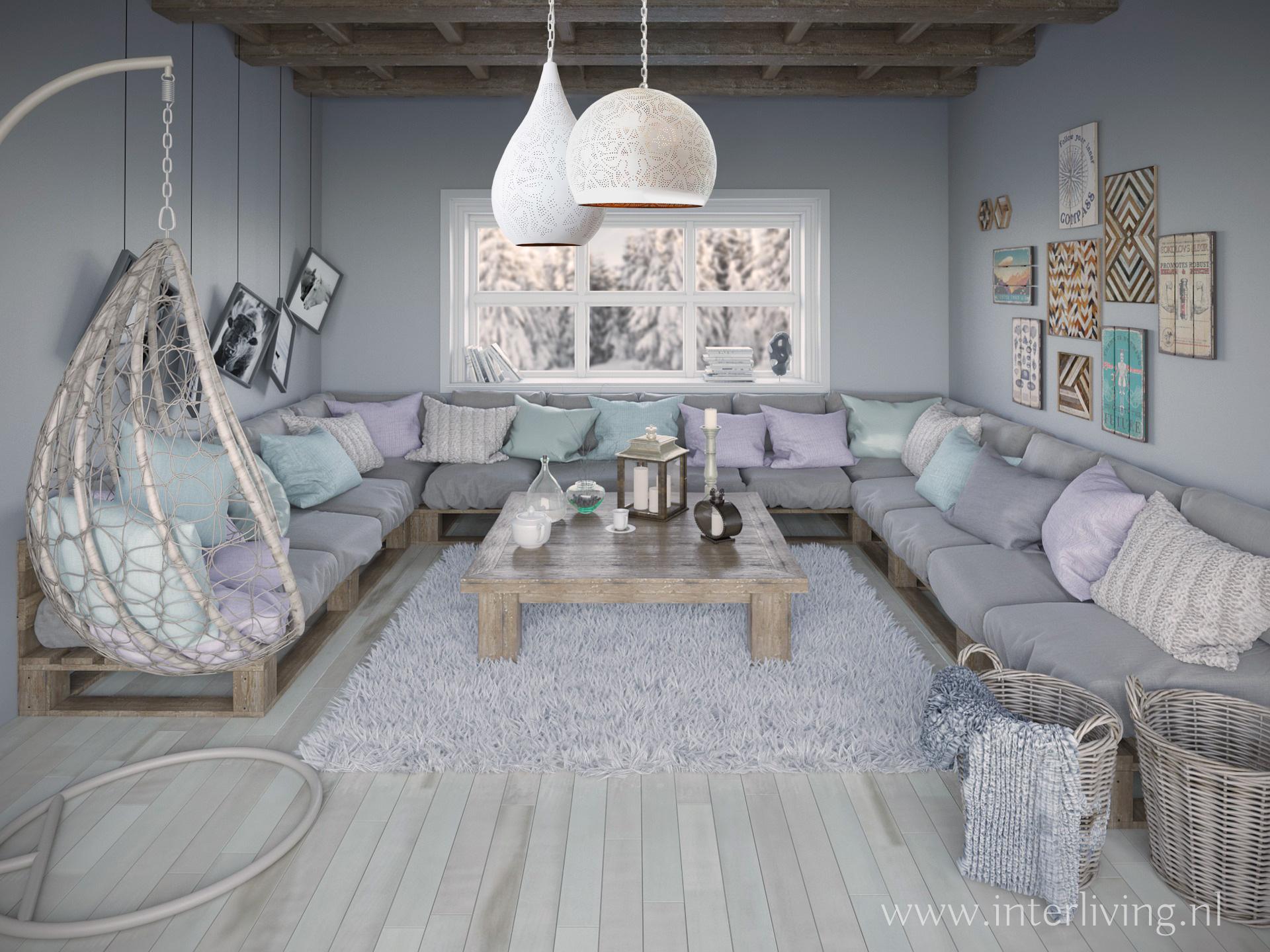 pastelkleuren poedertinten in je interieur met een trosje oosterse hanglampen in mat wit met warm goud voor een droomhuis