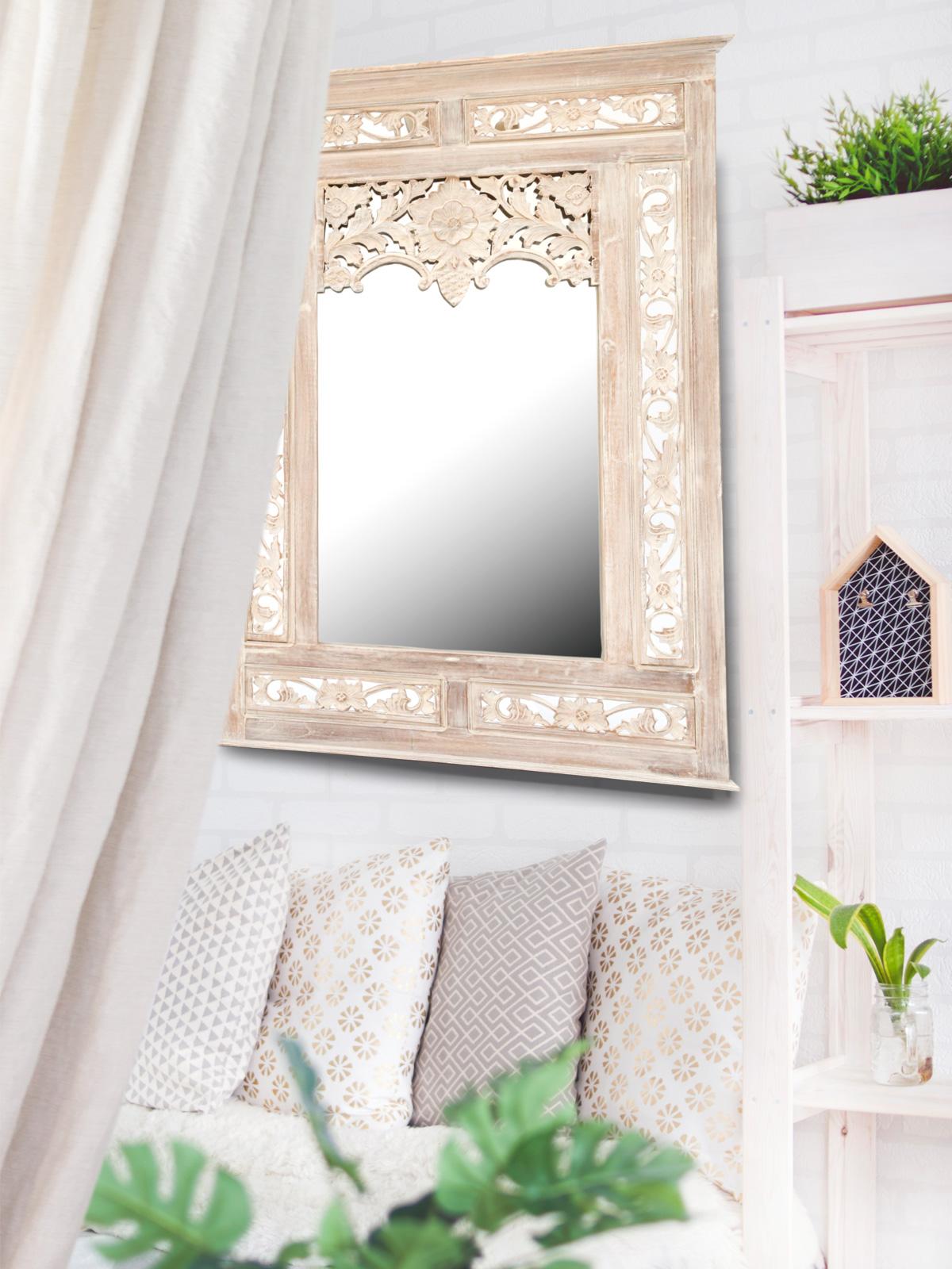 Grote witte oosterse spiegel handgemaakt met open for Goedkope barok spiegel