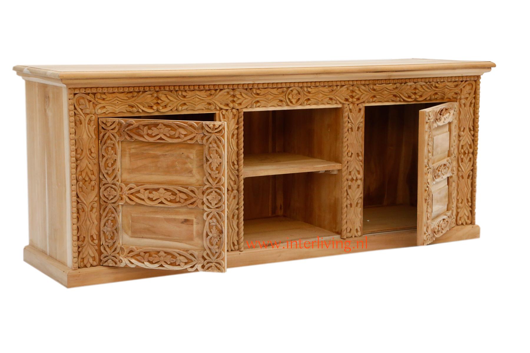 eclectische houten kast - oosterse tvdressior