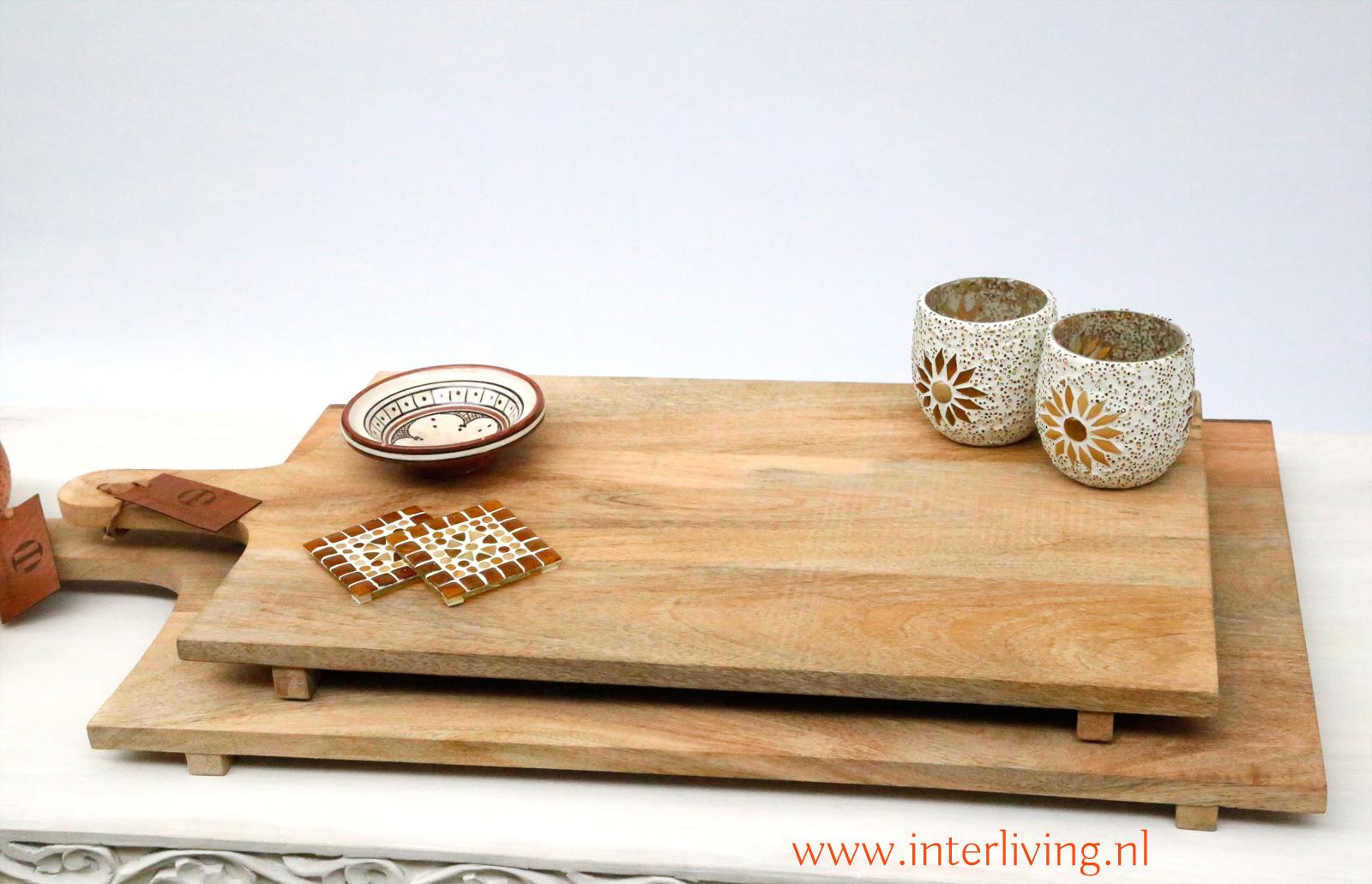 serveerplank van manghout - met leren koordje