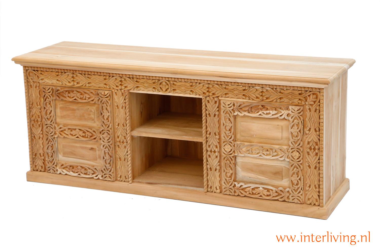 oud tvdressior of tvmeubel uit India - handgemaakt met houtsnijwerk