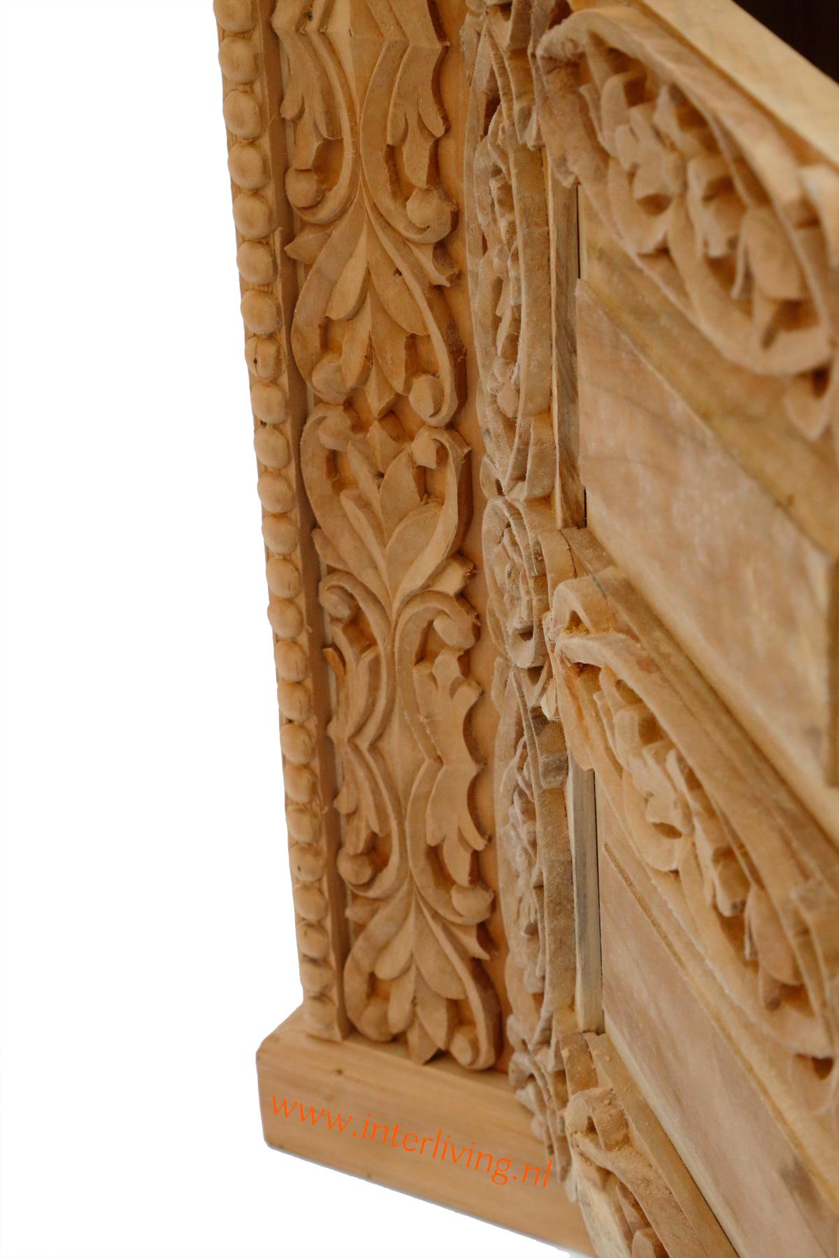 handgemaakte naturel teakhouten tvkast met houtsnijwerk