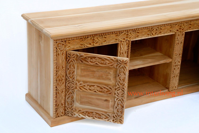 tvmeubel teak met twee deuren en houtsnijwerk - uniek tvdressior of tvmeubel uit India - handgemaakt