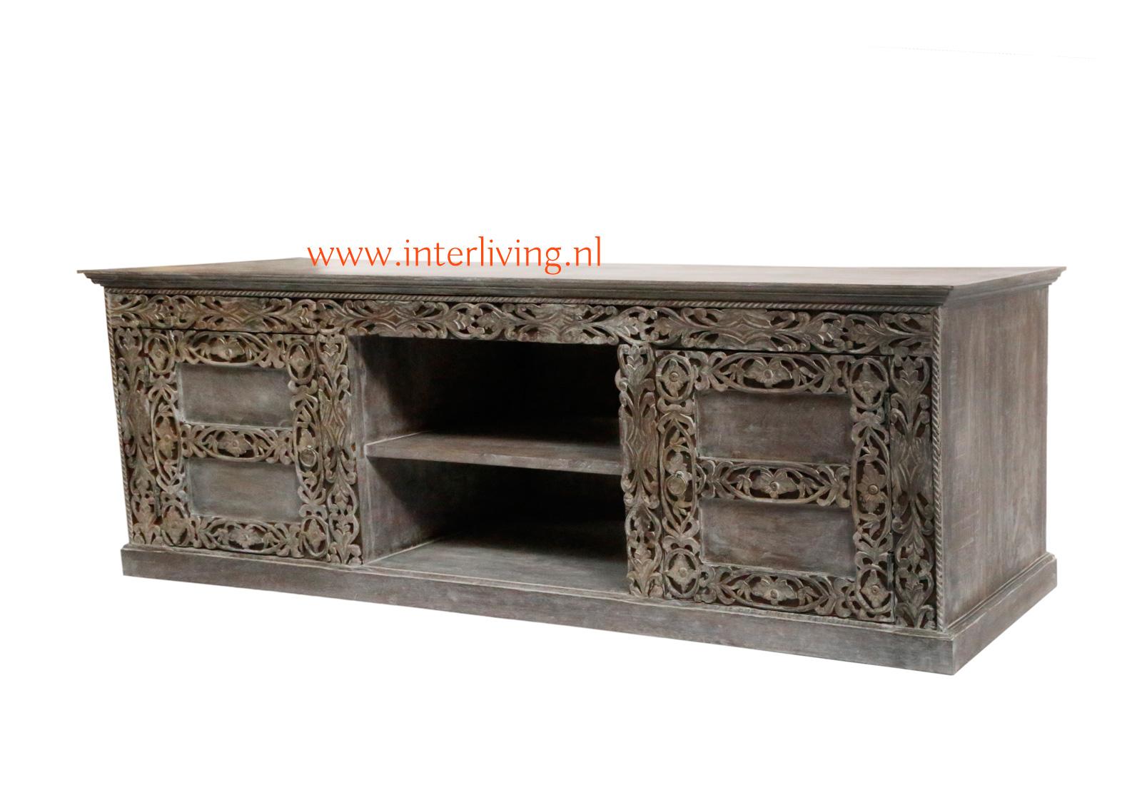 donker mangohout grey washed tv kast - tvdressior of tvmeubel uit India - handgemaakt met houtsnijwerk