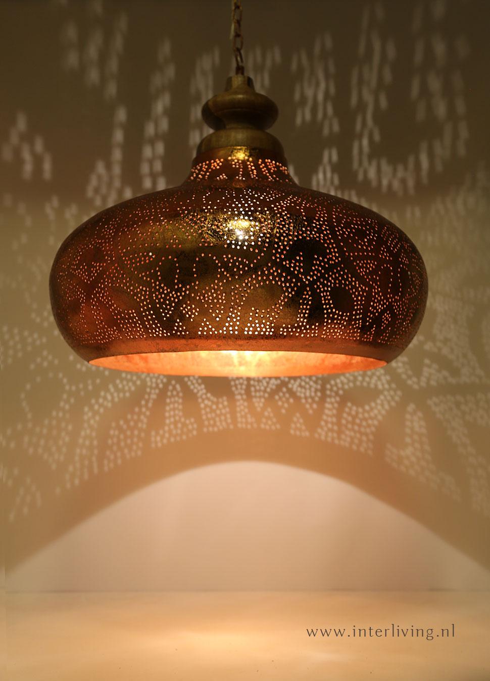 vintage koper lamp met hout