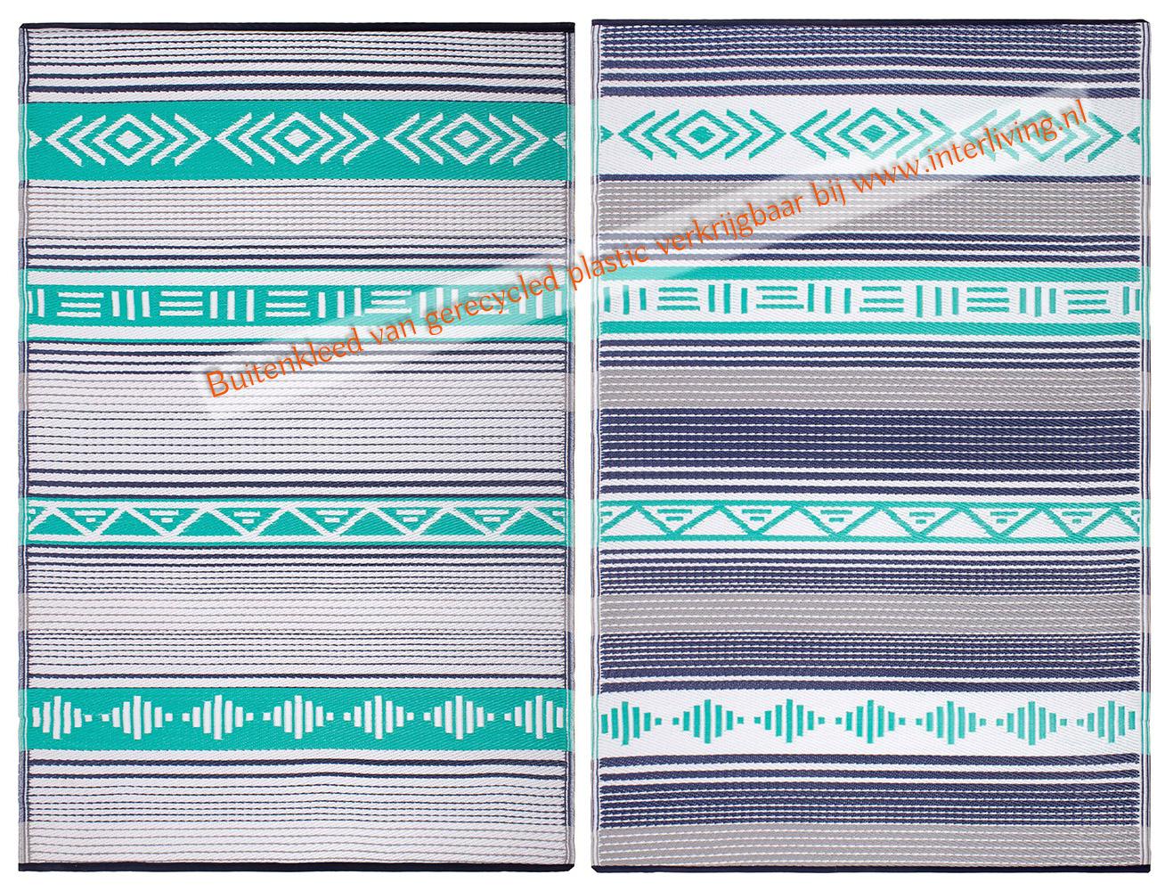 Ibiza bohemian buitenkleed - gerecycled plastic met zwart witte streepjes en geometrische patronen - groen blauw en turquoise kleuren