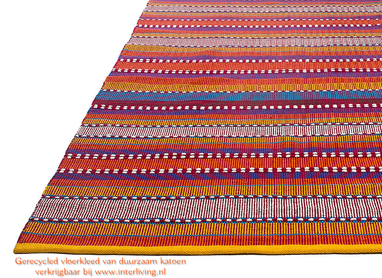kleurrijk gestreept vloerkleed - duurzaam en gerecycled katoen -groot model