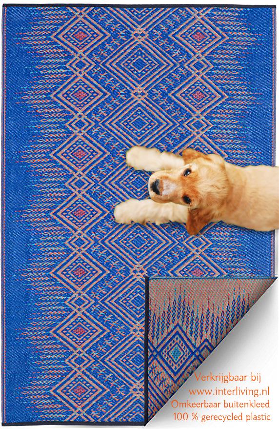 Scandinavisch buitenkleed - diervriendelijk tapijt - gerecycled plastic met geometrische patronen - blauw en beige kleuren
