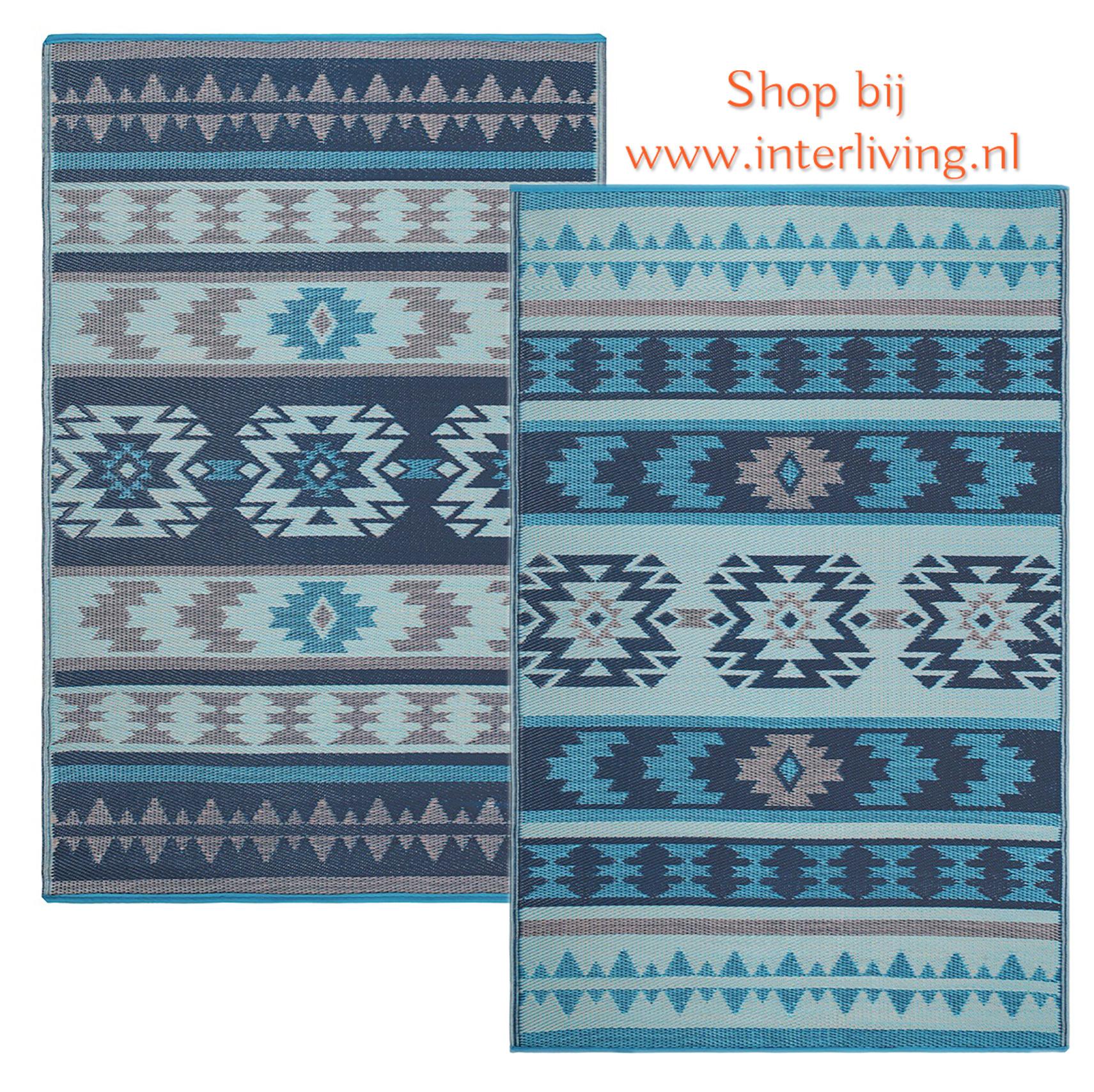 duurzaam inca vloerkleed - gerecycled plastic met aztec navajo patronen - multi blauw kleuren