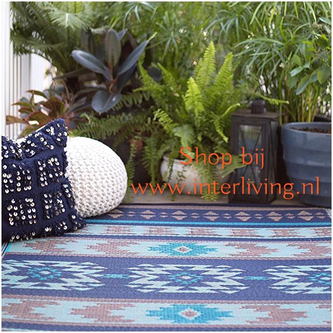 gerecycled plastic buitenvloerkleed - blauw met tribal aztec inca patronen - omkeerbaar picknickkleed