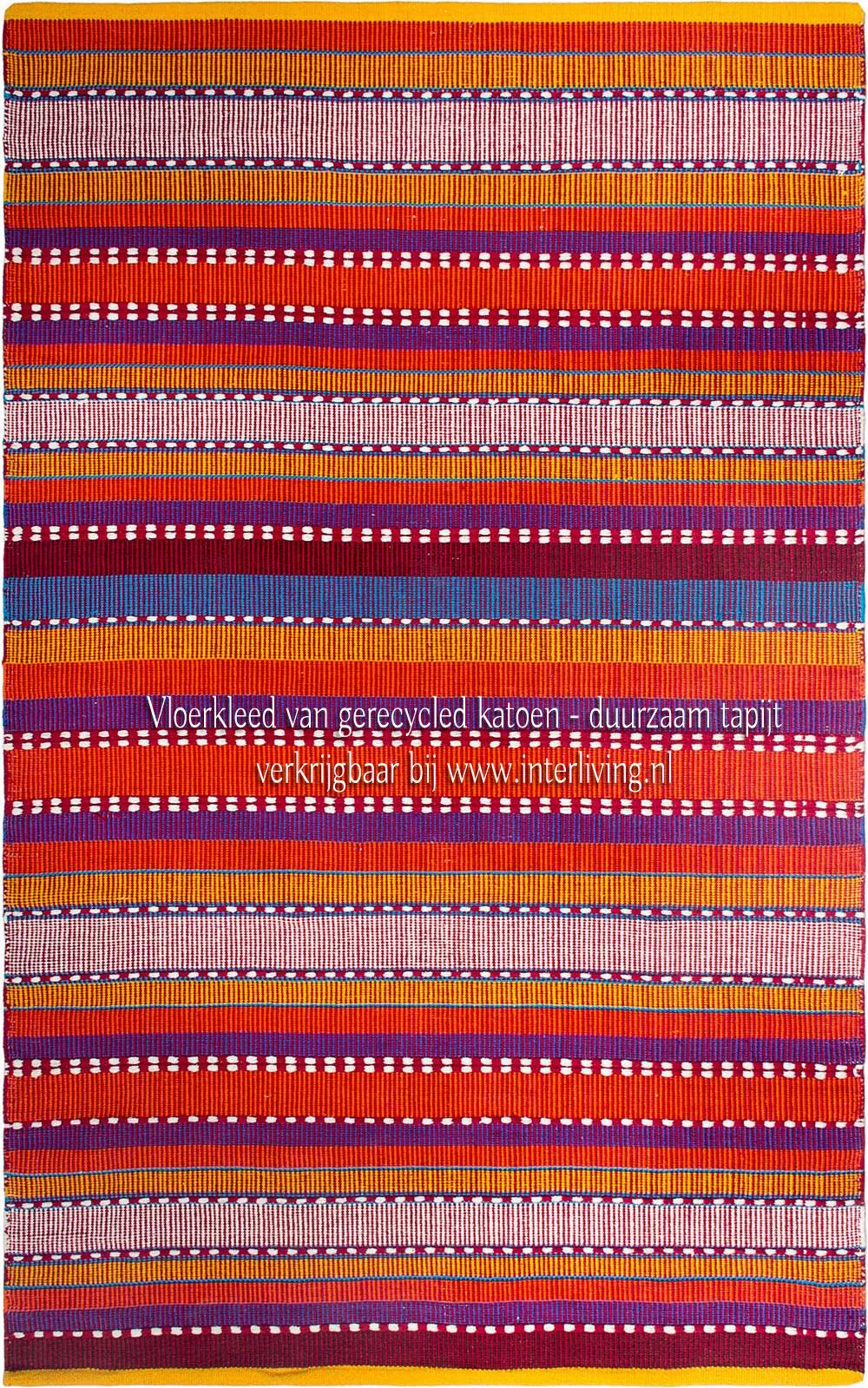 duurzaam Boho vloerkleed - gerecycled katoen met streepjes patronen - vrolijke multi kleuren
