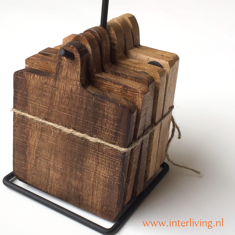 onderzetters om op te hangen - mango hout met metalen frame