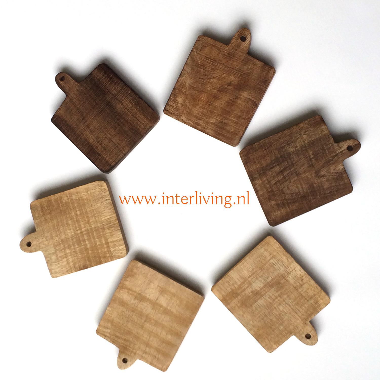 set van zes onderzetters - bruin en naturel mango hout