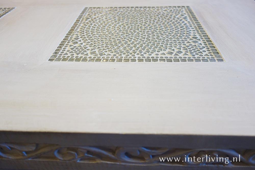 mango houten witte salontafel - houtsnijwerk uit India
