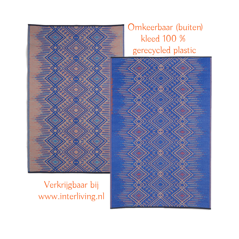 Scandinavisch buitenkleed - gerecycled plastic met geometrische patronen - blauw en beige kleuren