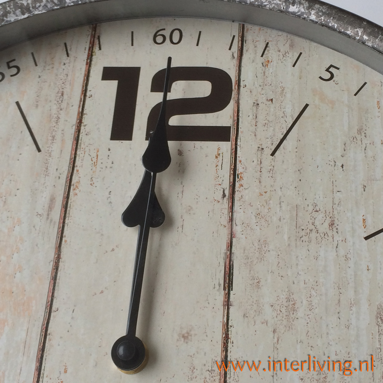 buitenklok - rond met rand zink - vintage wijzerplaat hout