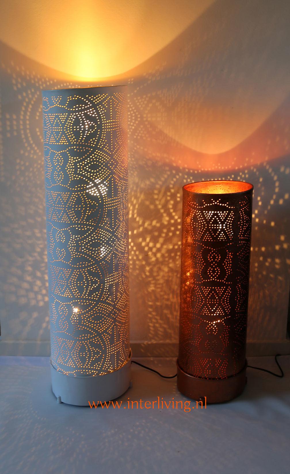 oosters--staande-vloerlamp-cilinder-buis-gaatjeslamp