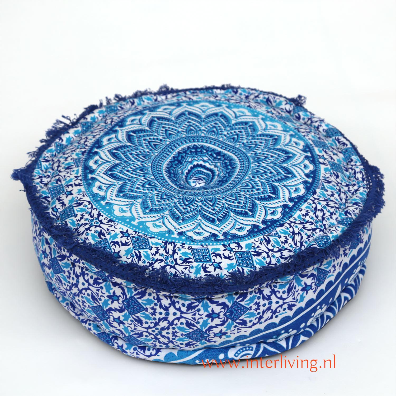 oosterse-boho-poef-rond-mandala-blauw-aqua-wit-rond-franje-rand
