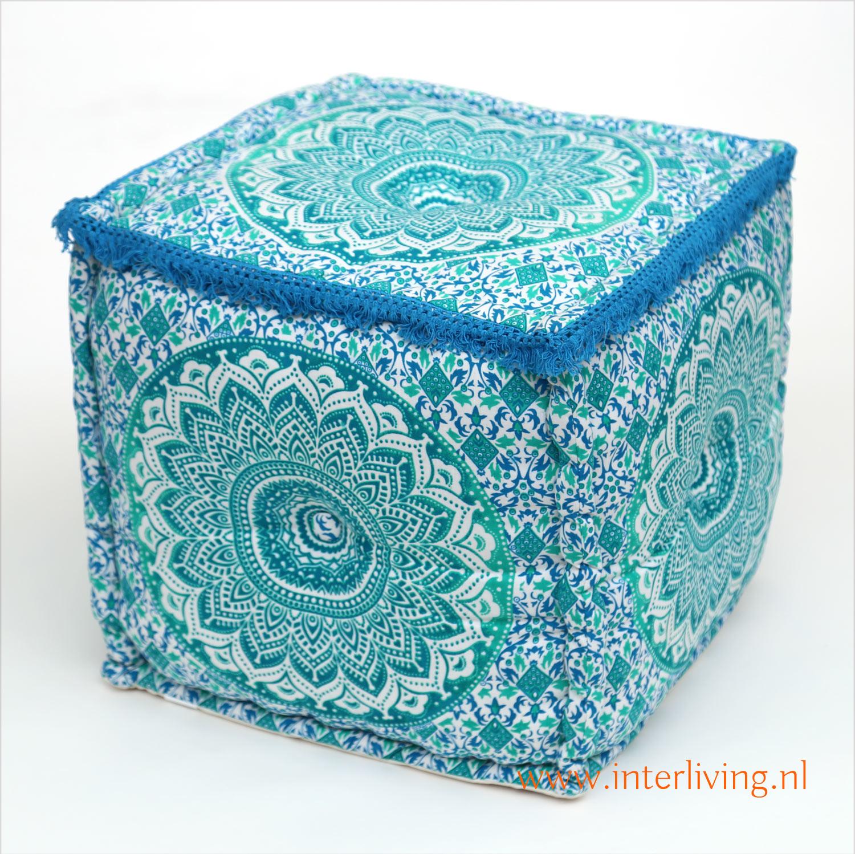 oosterse-vierkante-poef-mandala-patroon-aqua-groen-blauw-wit