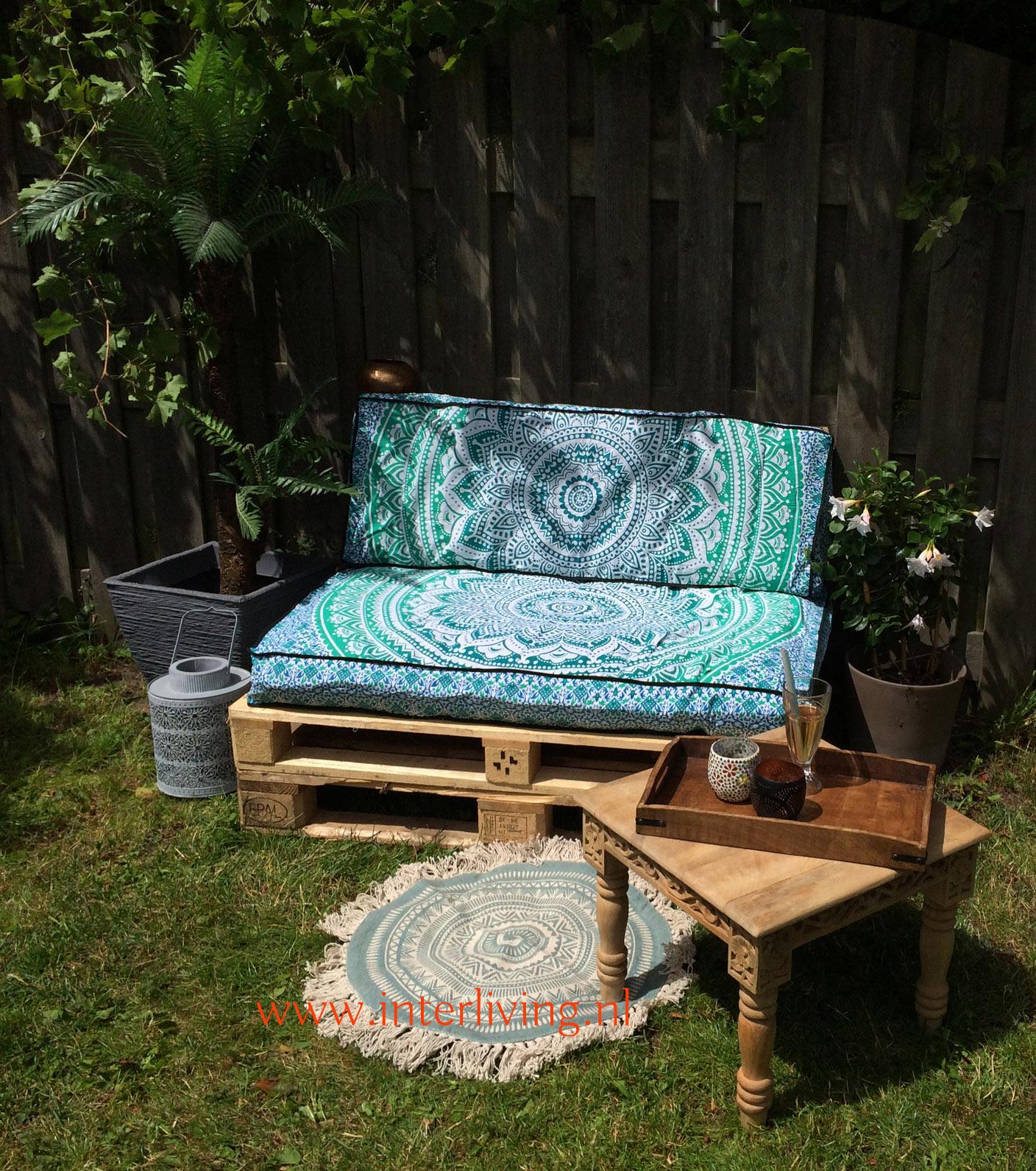 Oriëntaalse mandala print loungekussen-hoezen - mooi op je oosterse palletbank in de tuin