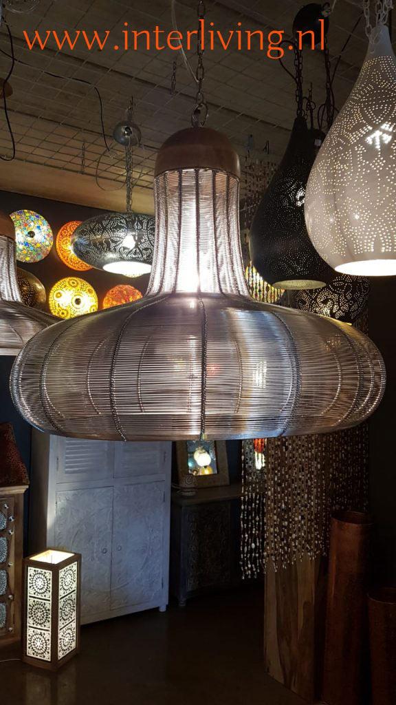 indistriele hanglamp metaal met brede kap van zilver ijzerdraad