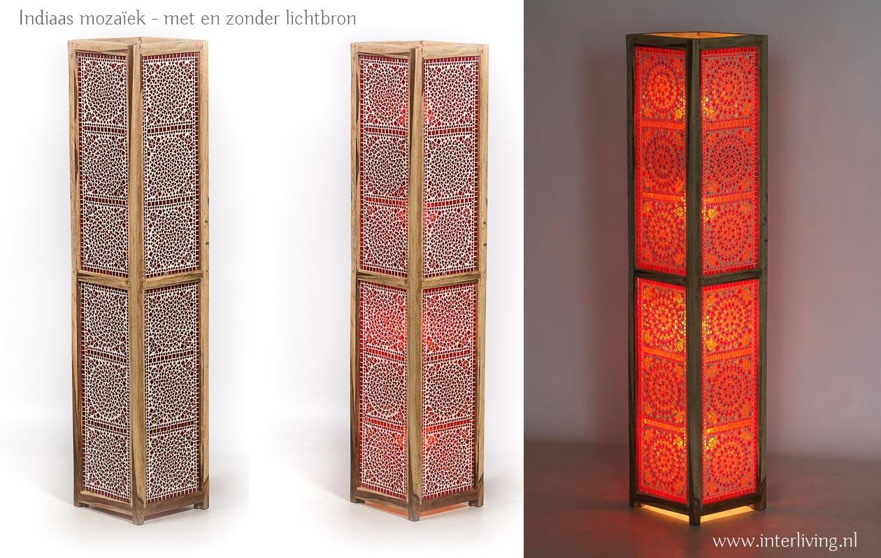 staande lamp met Indiaas glasmozaiek
