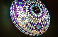 ronde plafonnière mozaïek turks design 25 cm - blauw
